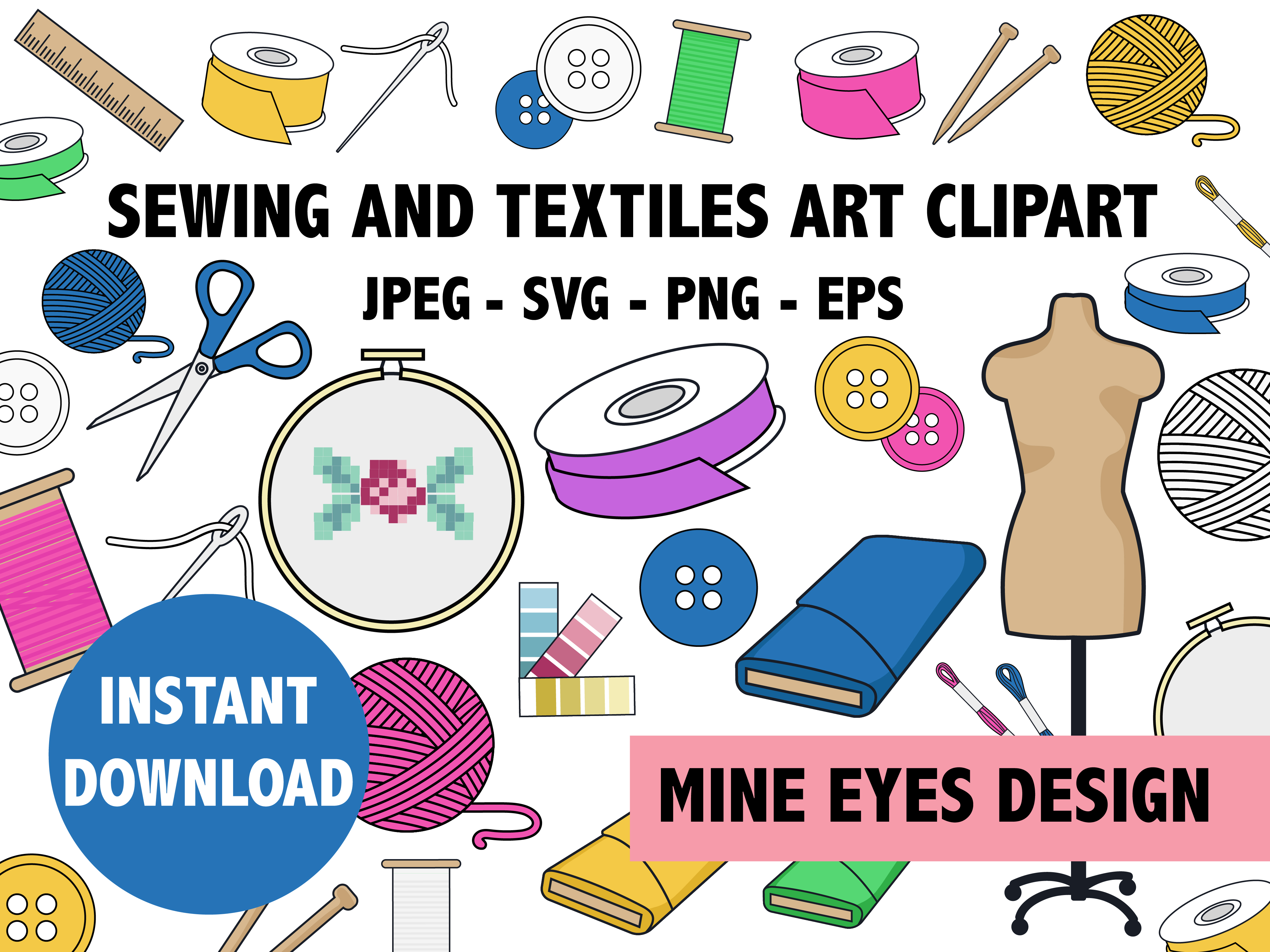 Download Free Textiles Clipart Graphic By Mine Eyes Design Creative Fabrica for Cricut Explore, Silhouette and other cutting machines.