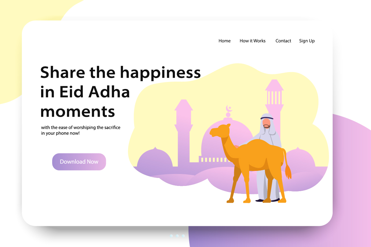 Download Free Ui Design Landing Page Of Eid Adha Graphic By Namela Creative SVG Cut Files