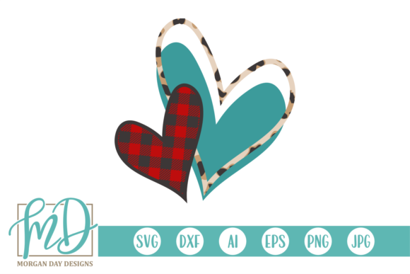 Print on Demand: Valentine Buffalo Plaid Leopard Hearts Graphic Crafts By Morgan Day Designs