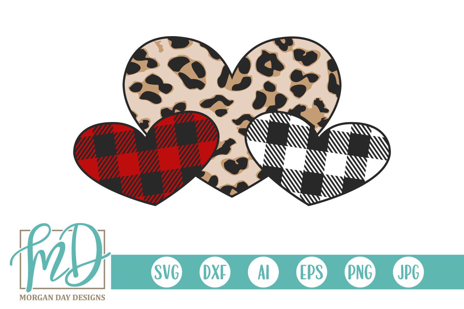 Download Free Valentine Leopard Buffalo Plaid Hearts Graphic By Morgan Day for Cricut Explore, Silhouette and other cutting machines.