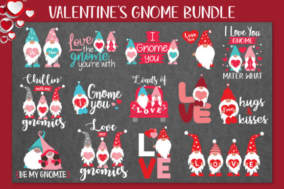 Valentine's Gnome Bundle Graphic Crafts By All About Svg - Image 1