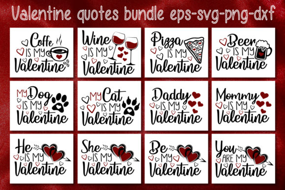Valentine's Quotes Bundle Graphic Crafts By All About Svg