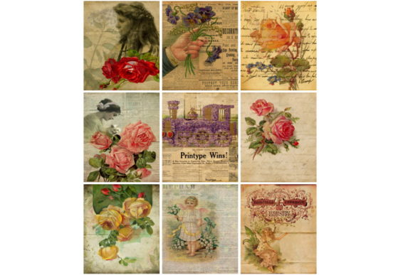 Download Free Vintage Ephemera Valentine Tags Collage Graphic By Scrapbook for Cricut Explore, Silhouette and other cutting machines.