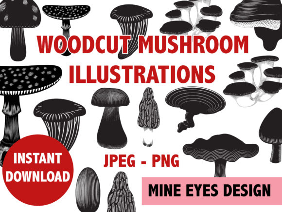 Print on Demand: Woodcut Mushroom Graphic Illustrations By Mine Eyes Design