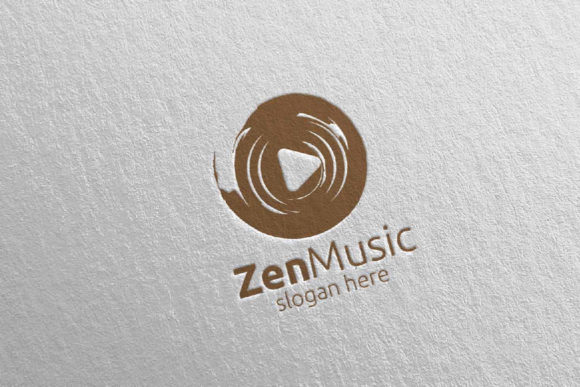 Zen Music Logo with Zen and Play Concept Graphic Logos By denayunecf - Image 1