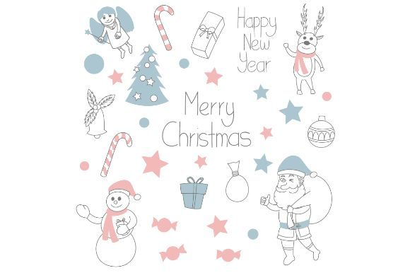 Download Free Cute Christmas Doodles Graphic By Firdausm601 Creative Fabrica for Cricut Explore, Silhouette and other cutting machines.