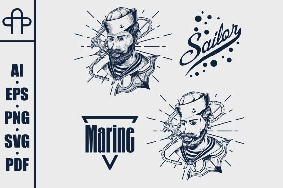 Print on Demand: Sailor Marine Grafik Illustrationen von Andypp