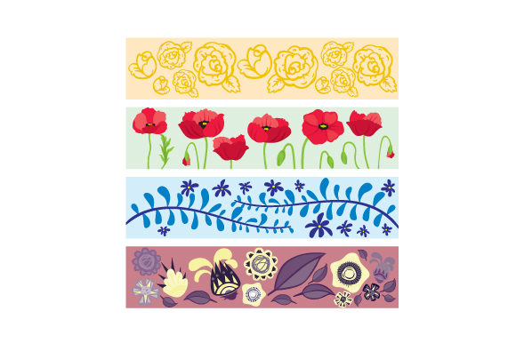 Download Free Washi Tape Designs With Floral Accents Svg Cut File By Creative for Cricut Explore, Silhouette and other cutting machines.