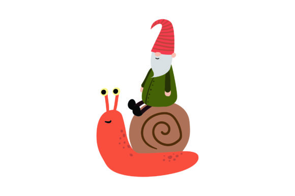 Download Free Gnome Riding A Snail Svg Cut File By Creative Fabrica Crafts for Cricut Explore, Silhouette and other cutting machines.