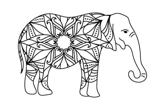 Download Free Elephant In Mandala Style Svg Cut File By Creative Fabrica for Cricut Explore, Silhouette and other cutting machines.