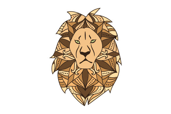 Lion in Mandala Style with Color Animals Craft Cut File By Creative Fabrica Crafts - Image 1