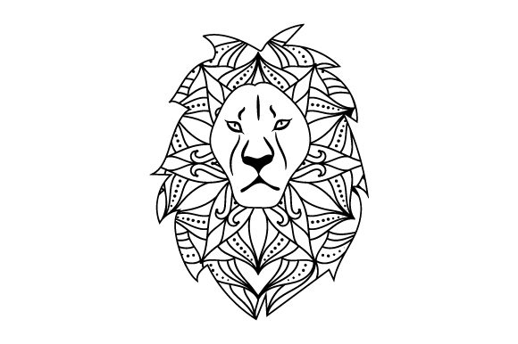 Lion in Mandala Style with Color Animals Craft Cut File By Creative Fabrica Crafts - Image 2