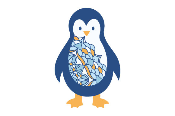 Penguin in Mandala Style with Color Animals Craft Cut File By Creative Fabrica Crafts