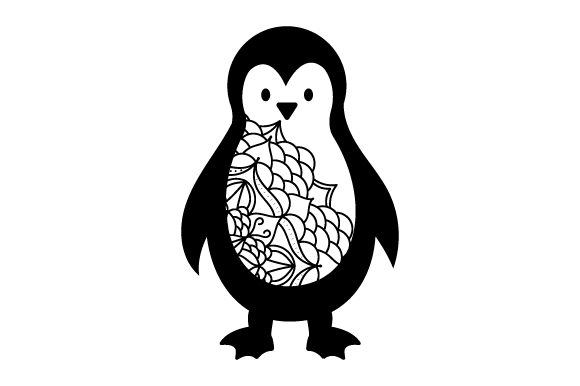 Penguin in Mandala Style with Color Animals Craft Cut File By Creative Fabrica Crafts - Image 2