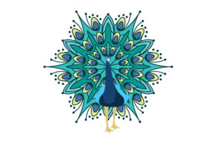 Peacock in Mandala Style with Color Animals Craft Cut File By Creative Fabrica Crafts