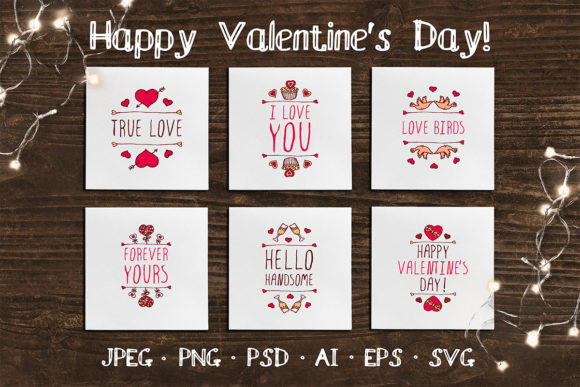 6 Hand Drawn Valentine Cards Graphic Print Templates By AV Design