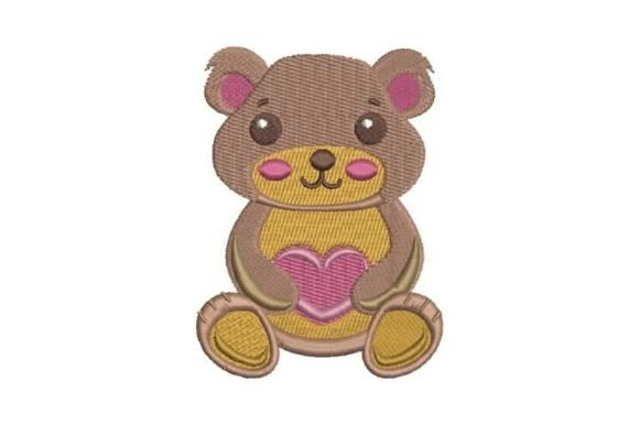 A Cute Teddy Bear Holding a Heart Teddy Bears Embroidery Design By Embroidery Designs