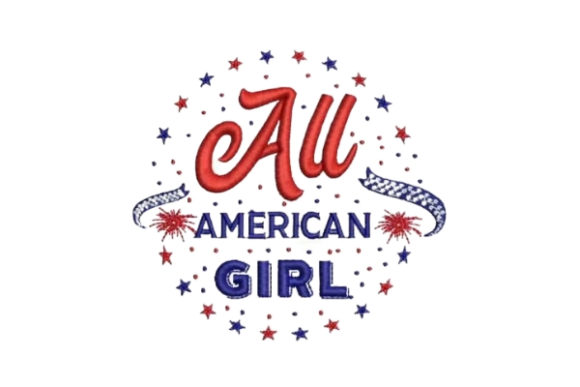 All American Girl Independence Day Embroidery Design By Embroidery Designs - Image 1