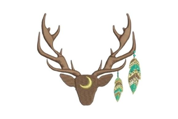 Antlers Feathers Woodland Animals Embroidery Design By Embroidery Designs - Image 1