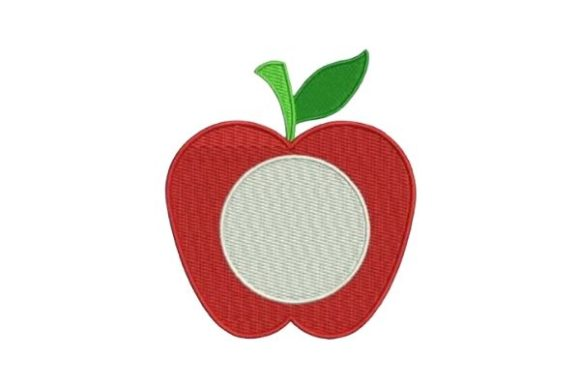 Apple Circle Monogram Comida y cena Diseños de bordado Por Embroidery Designs