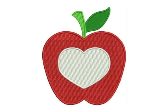 Apple Heart Monogram Food & Dining Embroidery Design By Embroidery Designs