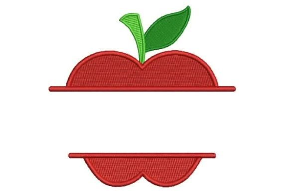Apple Split Monogram Food & Dining Embroidery Design By Embroidery Designs