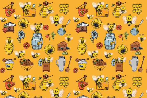 Download Free Bee Pattern Digital Paper Honey Bees Graphic By Graphics Farm for Cricut Explore, Silhouette and other cutting machines.