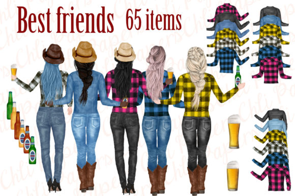Best Friends Clipart, Cowgirls Clipart Graphic Illustrations By ChiliPapers - Image 1