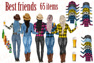 Best Friends Clipart, Cowgirls Clipart Graphic Illustrations By ChiliPapers