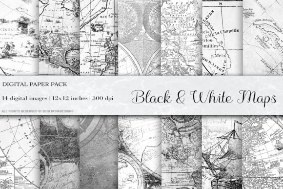 Black & White Vintage Maps Graphic Backgrounds By BonaDesigns