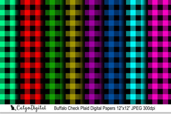 Download Free Buffalo Check Plaid Paper Pack 12x12 Graphic By Catgodigital for Cricut Explore, Silhouette and other cutting machines.