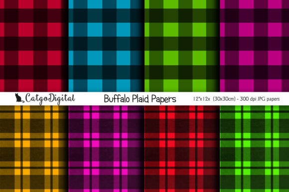 Print on Demand: Buffalo Plaid Papers Digital Scrapbookin Graphic Crafts By CatgoDigital