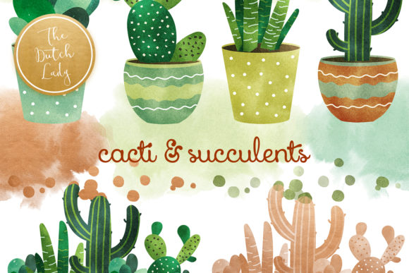 Print on Demand: Cacti and Succulent Clipart Set Graphic Illustrations By daphnepopuliers