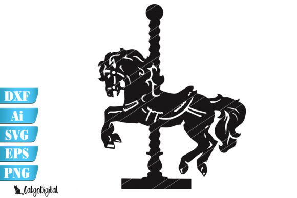 Download Free Carousel Horse Silhouette Graphic By Catgodigital Creative Fabrica for Cricut Explore, Silhouette and other cutting machines.