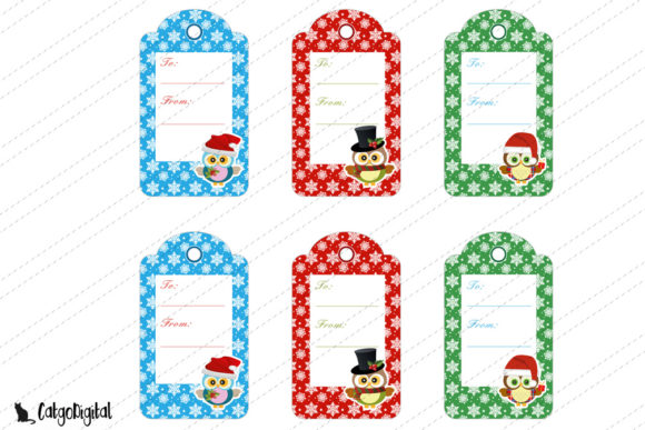 Download Free Christmas Tags Owls Scrapbooking Digital Graphic By Catgodigital for Cricut Explore, Silhouette and other cutting machines.