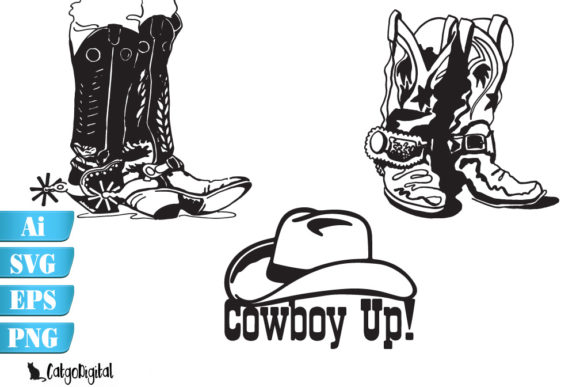 Download Free Cowboy Boots And Hat Graphic By Catgodigital Creative Fabrica for Cricut Explore, Silhouette and other cutting machines.