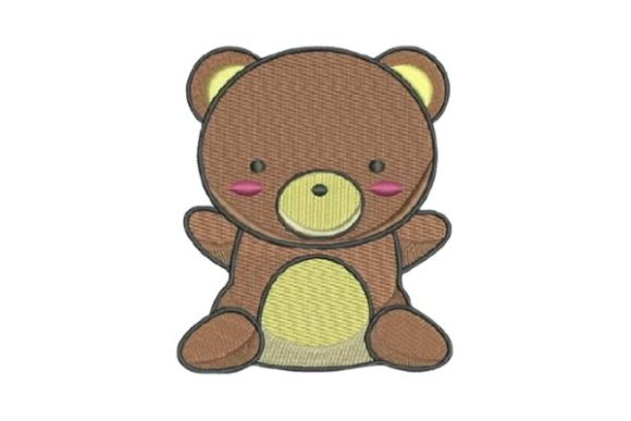 Cute Brown Teddy Bear Embroidery