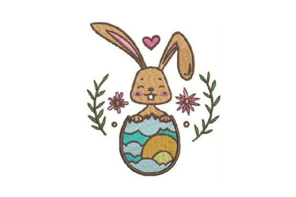 Easter Bunny in Egg Easter Embroidery Design By Embroidery Designs