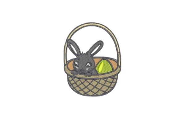 Easter Bunny in Basket Easter Embroidery Design By Embroidery Designs