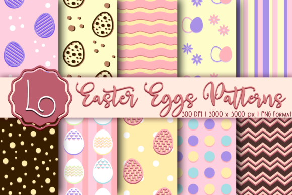 Print on Demand: Easter Eggs Seamless Patterns Graphic Patterns By La Oliveira