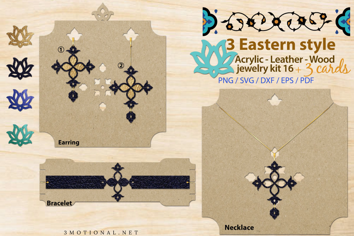 Download Free Eastern Style Acrylic Jewelry Kit 16 Graphic By 3motional for Cricut Explore, Silhouette and other cutting machines.