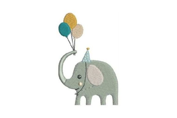 Elephant Balloons Birthdays Embroidery Design By Embroidery Designs - Image 1