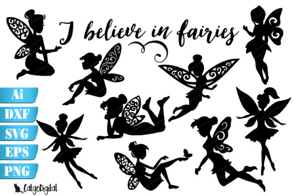 Print on Demand: Fairy Silhouettes I Believe in Fairies Gráfico Crafts Por CatgoDigital