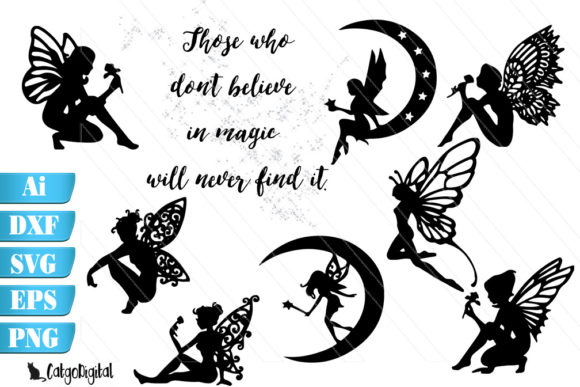Download Free Fairy Vector Silhouettes Graphic By Catgodigital Creative Fabrica SVG Cut Files