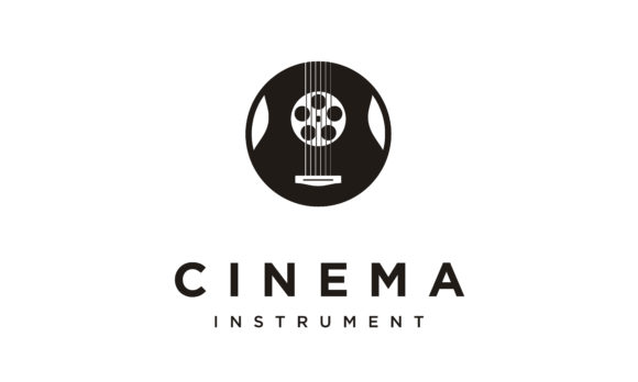 Download Free Film Reel Strip Guitar Music Movie Logo Graphic By Enola99d Creative Fabrica for Cricut Explore, Silhouette and other cutting machines.