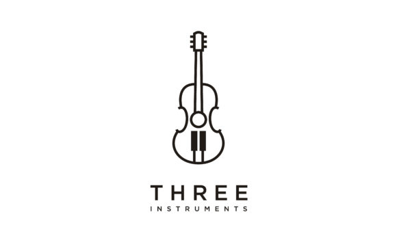 Download Free Guitar Piano Violin Cello Music Logo Graphic By Enola99d for Cricut Explore, Silhouette and other cutting machines.