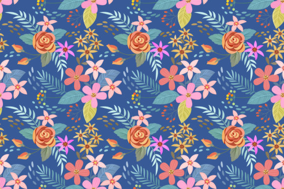 Hand Drawn Flowers On Blue Background Graphic By Ranger262