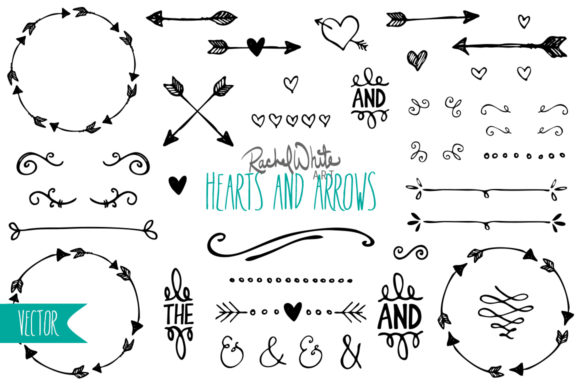 Hearts & Arrows, Vector & PNG Graphic Objects By rachelwhiteart