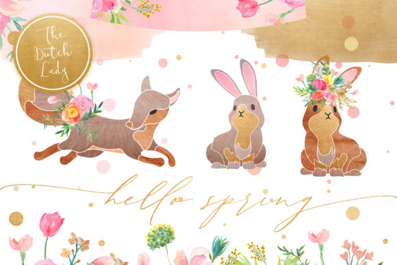 Print on Demand: Hello Spring Clipart Set Graphic Illustrations By daphnepopuliers