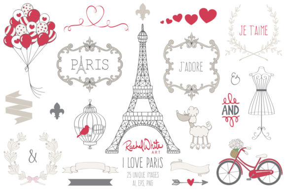 I Love Paris, Vector Graphic Illustrations By rachelwhiteart